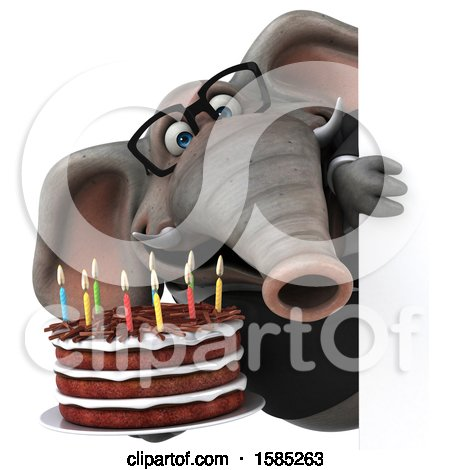 Clipart of a 3d Business Elephant Holding a Birthday Cake, on a White Background - Royalty Free Illustration by Julos