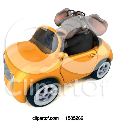 Clipart of a 3d Business Elephant Driving a Convertible, on a White Background - Royalty Free Illustration by Julos