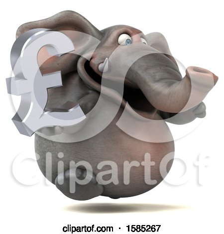Clipart of a 3d Elephant Holding a Pound Currency Symbol, on a White Background - Royalty Free Illustration by Julos