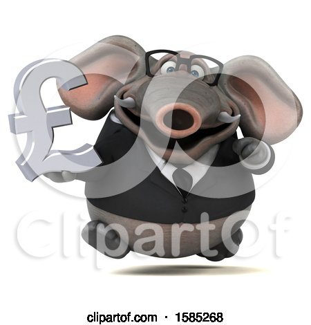 Clipart of a 3d Business Elephant Holding a Pound Currency Symbol, on a White Background - Royalty Free Illustration by Julos