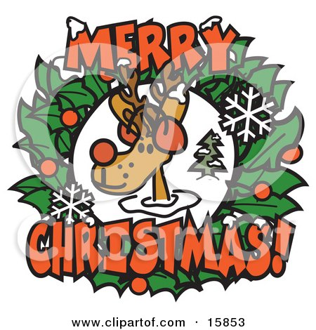 Red Nosed Reindeer, Rudolph, In Between A Christmas Wreath With Merry Christmas Clipart Illustration by Andy Nortnik