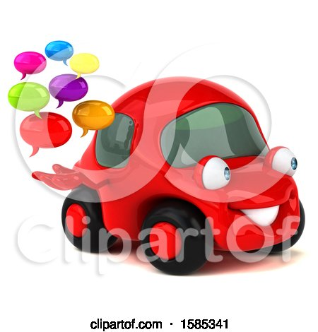 Clipart of a 3d Red Mechanic Car Holding Messages, on a White Background - Royalty Free Vector Illustration by Julos