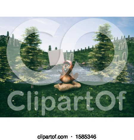 Clipart of a 3d Beaver - Royalty Free Vector Illustration by Julos