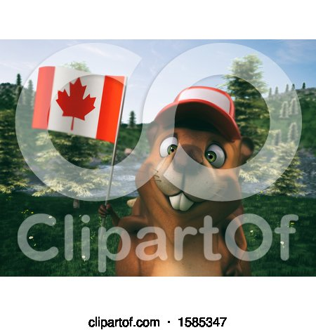Clipart of a 3d Beaver Holding a Canadian Flag - Royalty Free Vector Illustration by Julos