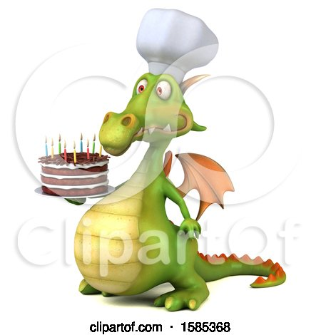 Clipart of a 3d Green Chef Dragon Holding a Birthday Cake, on a White Background - Royalty Free Illustration by Julos