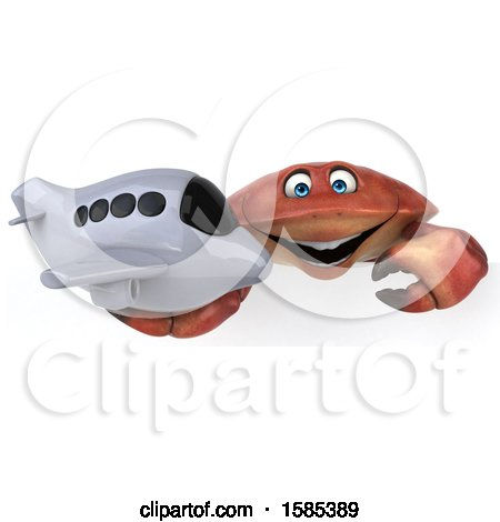 Clipart of a 3d Crab Holding a Plane, on a White Background - Royalty Free Illustration by Julos
