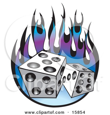 Royalty-free clipart picture of a pair of dice over purple and blue flames.