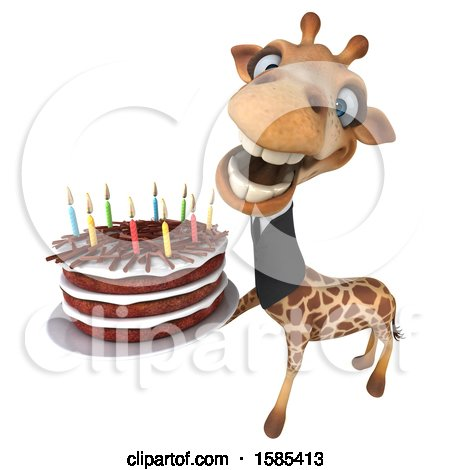 Clipart of a 3d Business Giraffe Holding a Birthday Cake, on a White Background - Royalty Free Illustration by Julos