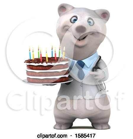 Clipart of a 3d Doctor Polar Bear Holding a Birthday Cake, on a White Background - Royalty Free Illustration by Julos