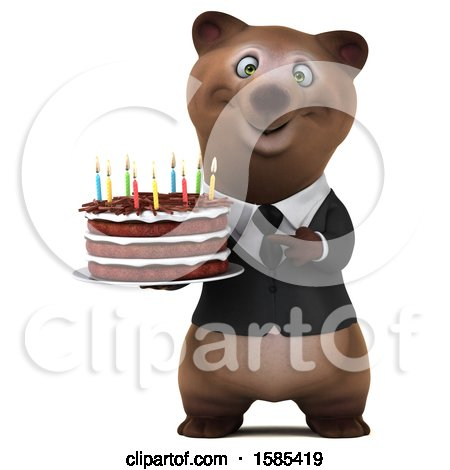 Clipart of a 3d Brown Business Bear Holding a Birthday Cake, on a White Background - Royalty Free Illustration by Julos