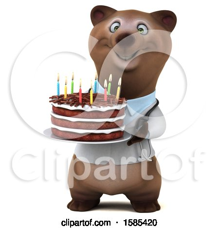 Clipart of a 3d Brown Doctor Bear Holding a Birthday Cake, on a White Background - Royalty Free Illustration by Julos