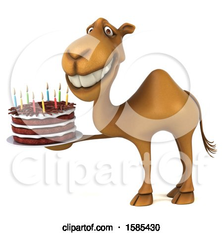 Clipart of a 3d Camel Holding a Birthday Cake, on a White Background - Royalty Free Illustration by Julos