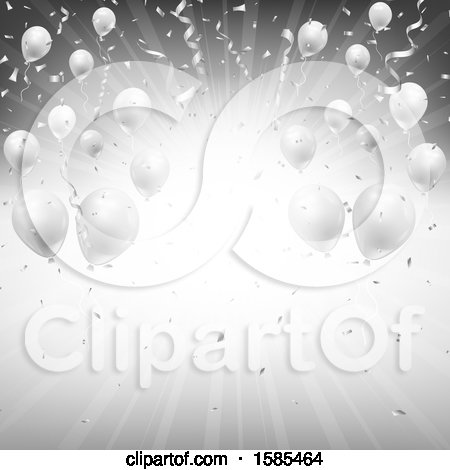 Clipart of a Silver Burst Background with Party Balloons and Confetti - Royalty Free Vector Illustration by KJ Pargeter