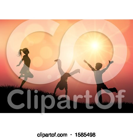 Clipart of Silhouetted Children Playing Against a Sunset - Royalty Free Vector Illustration by KJ Pargeter