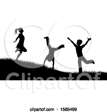 Clipart of Black and White Silhouetted Children Playing Outdoors - Royalty Free Vector Illustration by KJ Pargeter
