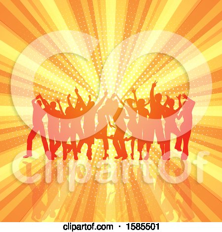 Clipart of a Silhouetted Group of Party People over a Burst and Halftone - Royalty Free Vector Illustration by KJ Pargeter