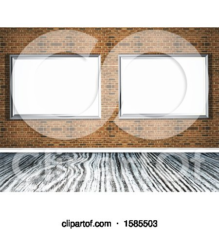 Clipart of a Brick Wall with 3d Blank Frames over a Wood Floor - Royalty Free Illustration by KJ Pargeter