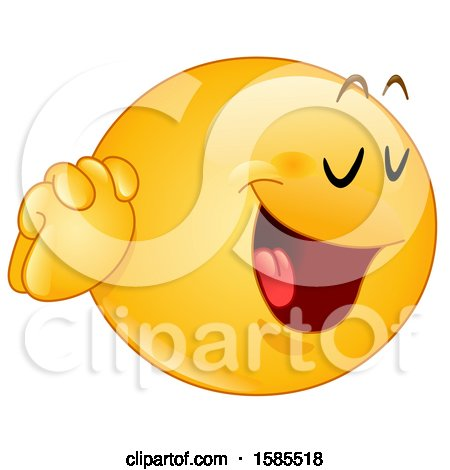 Clipart of a Yellow Emoji Holding His Hands to His Face and Saying Yes Please - Royalty Free Vector Illustration by yayayoyo