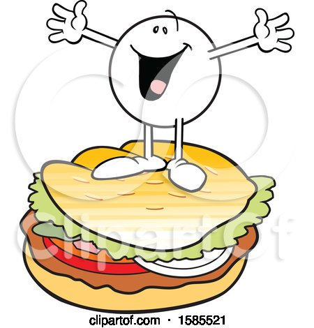 Clipart of a Cartoon Happy Moodie Character on Top of a Burger - Royalty Free Vector Illustration by Johnny Sajem