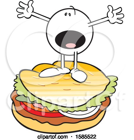 Clipart of a Cartoon Moodie Character on Top of a Burger - Royalty Free Vector Illustration by Johnny Sajem