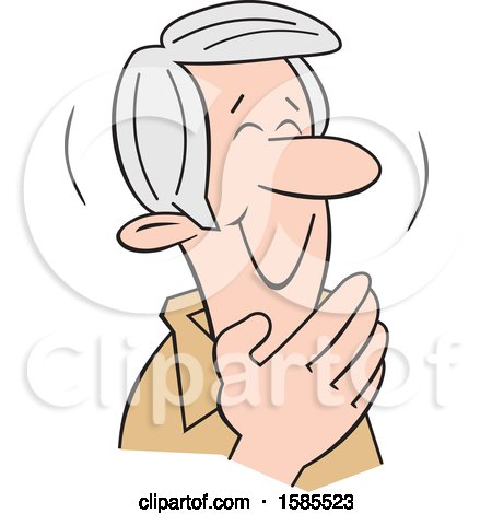 Clipart of a Cartoon Senior Caucasian Man Giggling and Covering His Mouth - Royalty Free Vector Illustration by Johnny Sajem