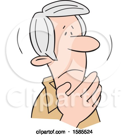 Clipart of a Cartoon Shaken Senior Caucasian Man Covering His Mouth - Royalty Free Vector Illustration by Johnny Sajem