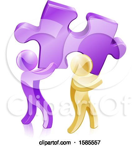 Clipart of 3d Purple and Gold Men Carrying a Large Solution Puzzle Piece - Royalty Free Vector Illustration by AtStockIllustration