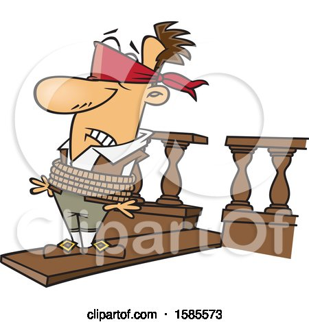 Clipart of a Cartoon White Man Walking a Plank - Royalty Free Vector Illustration by toonaday