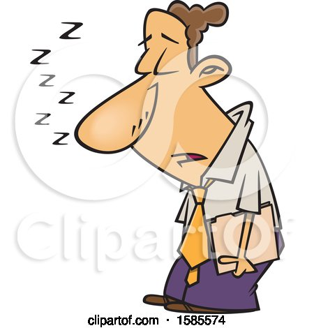 Clipart of a Cartoon Sleep Deprived Business Man Sleeping Standing up - Royalty Free Vector Illustration by toonaday