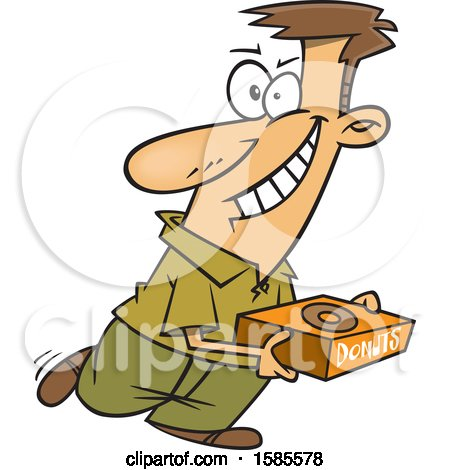 Clipart of a Cartoon White Man Hoarding Donuts - Royalty Free Vector Illustration by toonaday