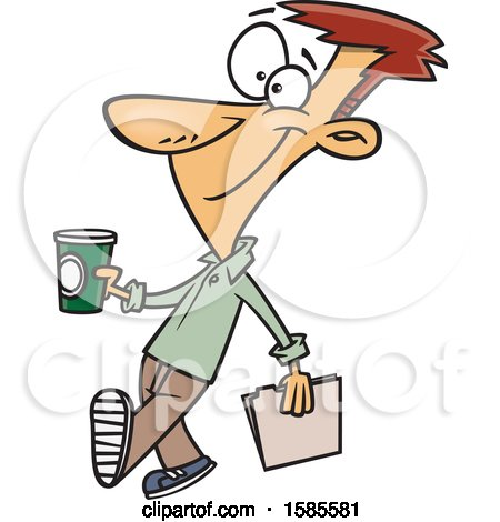 Clipart of a Cartoon Man Holding a to Go Coffee on Casual Friday - Royalty Free Vector Illustration by toonaday