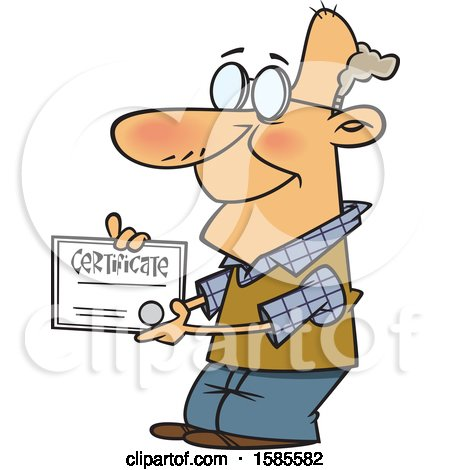 Clipart of a Cartoon Proud White Senior Man Holding a Certificate - Royalty Free Vector Illustration by toonaday