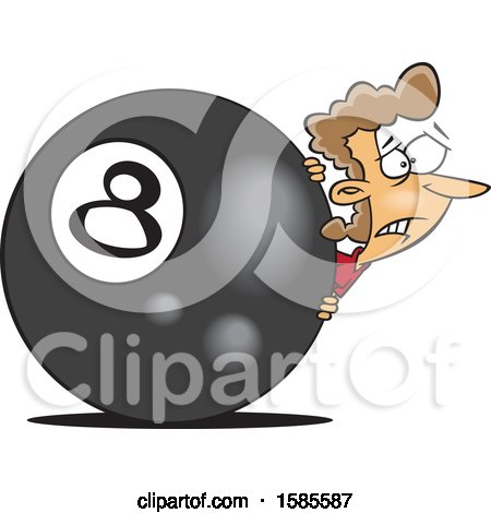 Clipart of a Cartoon White Woman Behind the Eightball - Royalty Free Vector Illustration by toonaday