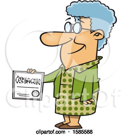 Cartoon Proud White Senior Woman Holding a Certificate Posters, Art Prints