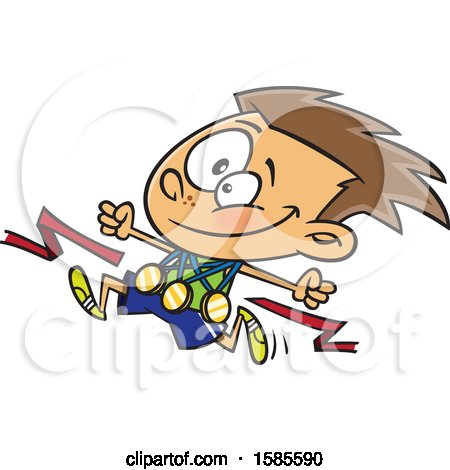 Clipart of a Cartoon Competitive Athletic White Boy Wearing Medals and Running - Royalty Free Vector Illustration by toonaday