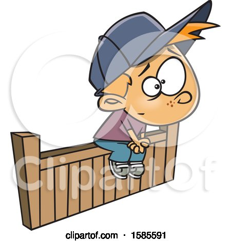 Clipart of a Cartoon White Boy Sitting on the Fence - Royalty Free Vector Illustration by toonaday