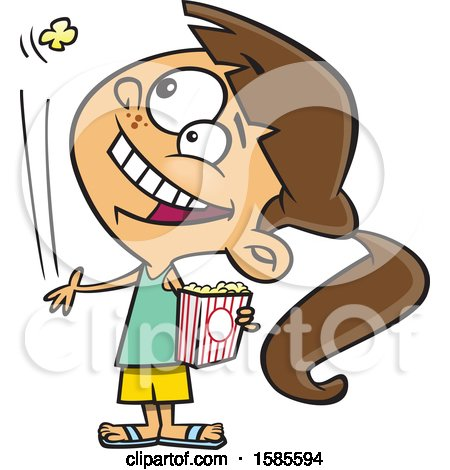 Clipart of a Cartoon White Girl Tossing a Piece of Popcorn into Her Mouth - Royalty Free Vector Illustration by toonaday