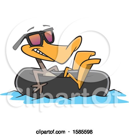 Clipart of a Cartoon Summer Time Duck Wearing Sunglasses and Floating in an Inner Tube - Royalty Free Vector Illustration by toonaday