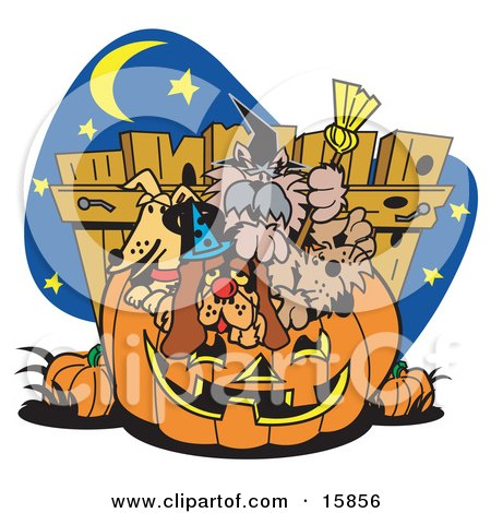 Bunch Of Dogs Crowding Into A Carved Halloween Pumpkin Clipart Illustration by Andy Nortnik
