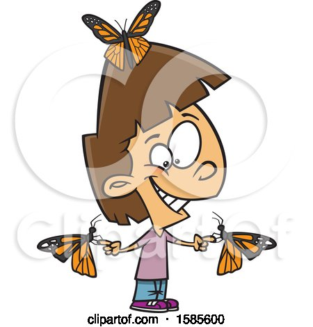 Clipart of a Cartoon White Girl with Butterflies - Royalty Free Vector Illustration by toonaday