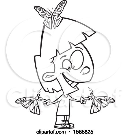 Clipart of a Cartoon Line Art Girl with Butterflies - Royalty Free Vector Illustration by toonaday