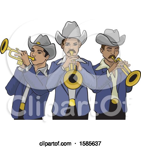 Clipart of a Mexican Norteno Band - Royalty Free Vector Illustration by David Rey