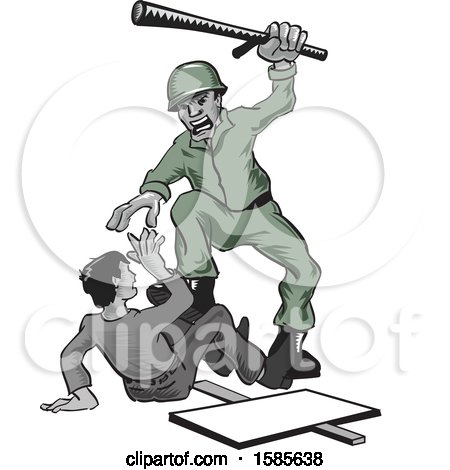 Clipart of a Soldier Abusing a Protesting Civilian - Royalty Free Vector Illustration by David Rey