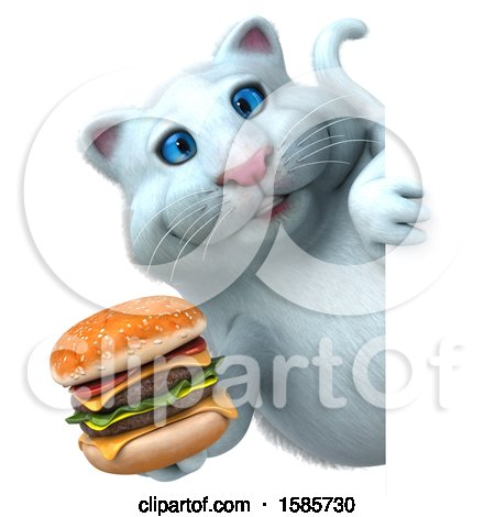 Clipart of a 3d White Kitty Cat Holding a Burger, on a White Background - Royalty Free Illustration by Julos