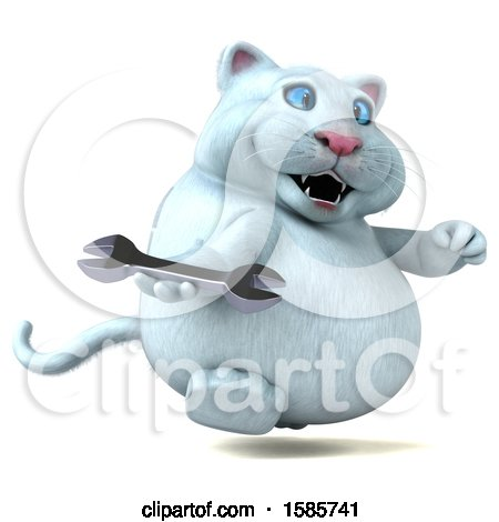 Clipart of a 3d White Kitty Cat Holding a Wrench, on a White Background - Royalty Free Illustration by Julos