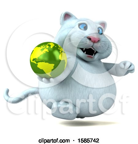 Clipart of a 3d White Kitty Cat Holding a Globe, on a White Background - Royalty Free Illustration by Julos