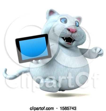 Clipart of a 3d White Kitty Cat Holding a Tablet, on a White Background - Royalty Free Illustration by Julos