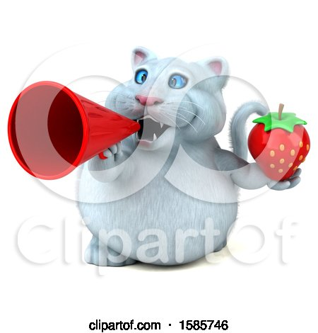 Clipart of a 3d White Kitty Cat Holding a Strawberry, on a White Background - Royalty Free Illustration by Julos