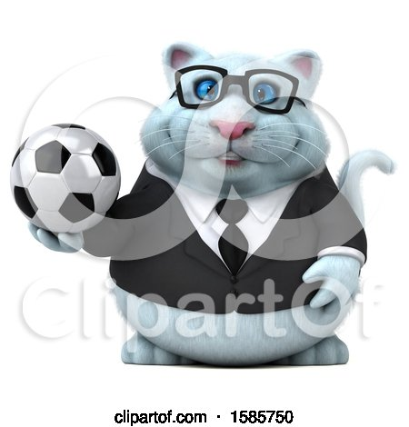 Clipart of a 3d White Business Kitty Cat Holding a Soccer Ball, on a White Background - Royalty Free Illustration by Julos