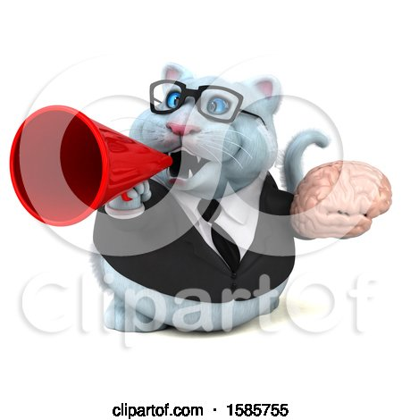 Clipart of a 3d White Business Kitty Cat Holding a Brain, on a White Background - Royalty Free Illustration by Julos